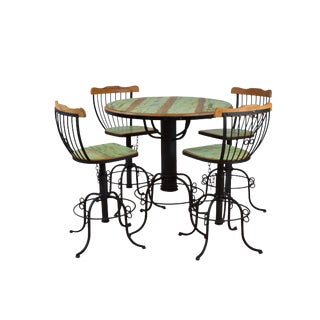 """Ink"" Bistro Table & Chairs - Set of 5 -Reclaimed Wood & Wrought Iron"