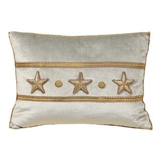 Antique European Raised Gold Metallic Stars on Pale French Blue Velvet Pillow For Sale