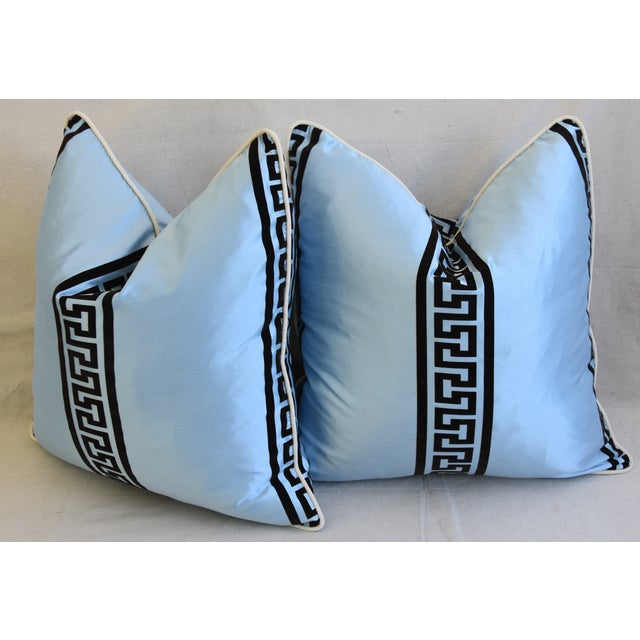 """Blue Dupioni Satin Silk Greek Key Feather/Down Pillows 23"""" Square - Pair For Sale - Image 9 of 13"""