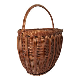 Vintage Woven Wicker Shopping Basket With Handle For Sale