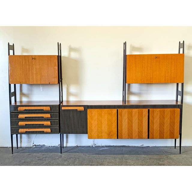 Large Italian Modern Wall Unit, Italy, 1950's For Sale - Image 11 of 11
