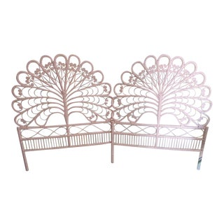 Vintage Pink Rattan Twin Headboards - A Pair