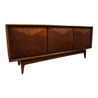 Mid-Century Danish Modern Kagan Style United Diamond Front Walnut Credenza