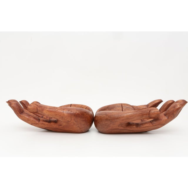 Vintage Oversized Hand Carved Solid Wood Hand Sculpture Tray For Sale - Image 4 of 6