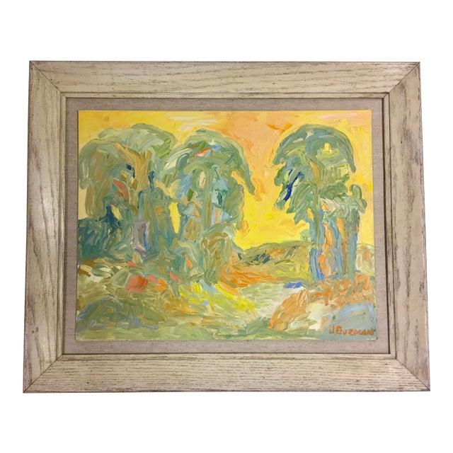 1970s Abstract Juan Guzman Palm Trees Landscape Oil Painting For Sale