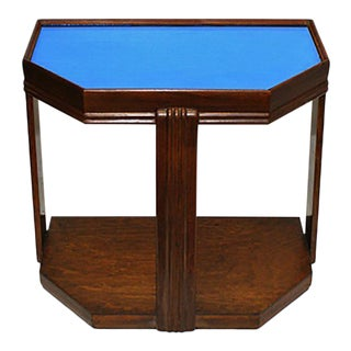 1930's Art Deco Style Wooden Table With Blue Mirrored Glass For Sale