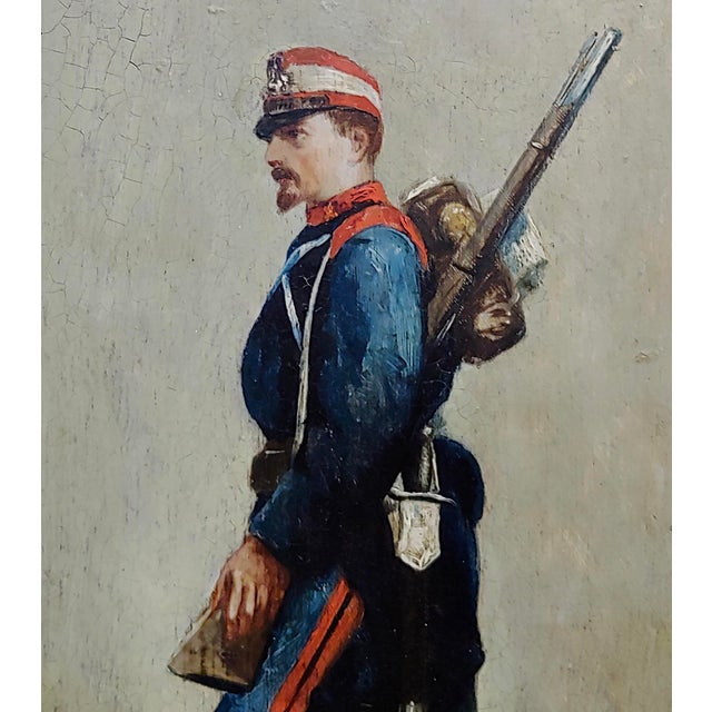 Edouard Jean Baptiste Detaille -Portrait of a Napoleonic Soldier -Oil Painting C.1870s For Sale - Image 4 of 11