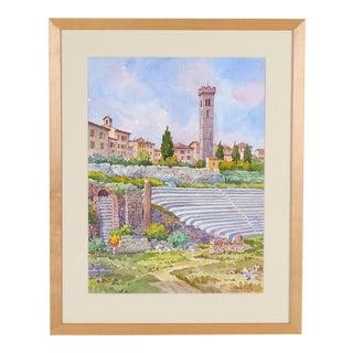 Vintage Italian Watercolor of Fiesole For Sale