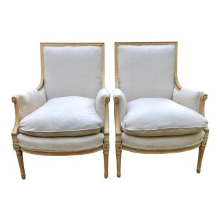 Vintage Mid Century Bleached Upholstered Bergere Chairs- A Pair For Sale