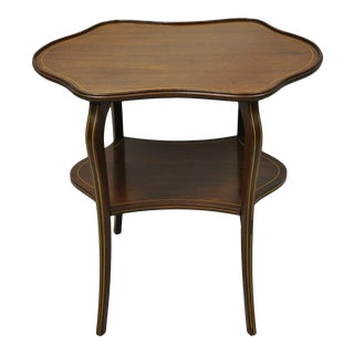 Antique Victorian Turtle Top Two Tier Mahogany Occasional Lamp Side Table For Sale