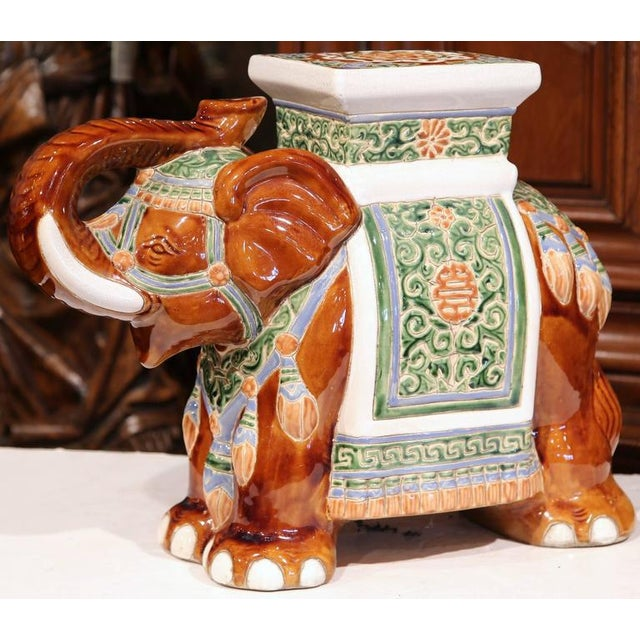 Early 20th Century French Hand-Painted Faience Elephant Garden Seat For Sale - Image 4 of 8