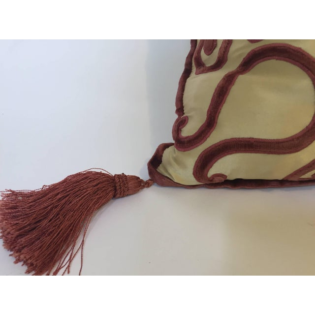 Moroccan Silk Velvet Applique Throw Decorative Pillow With Tassels Moroccan For Sale In Los Angeles - Image 6 of 10