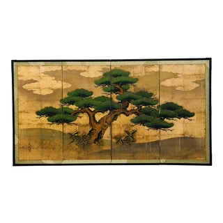 Painted Silk Folding Screen For Sale