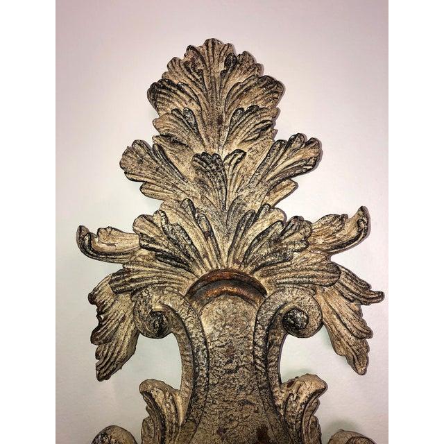 Vintage Mid-Century Cast Faux Bois Provincial Sconces - A Pair For Sale - Image 4 of 13