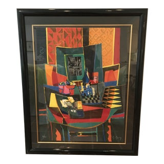"""1990s """"La Table de Jeux"""" Modernist Style Abstract Lithograph by Marcel Mouly, Framed For Sale"""