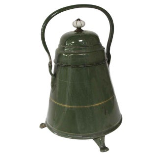 Green Metal Pot With Handle For Sale