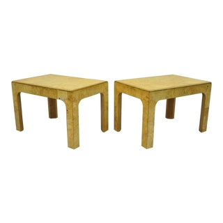 Henredon Scene Two Burled Olive Wood Low Side End Tables - a Pair