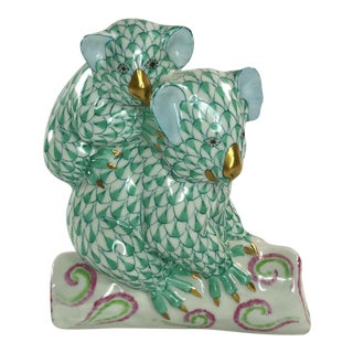 Herend Koalas Green Fishnet Figurine For Sale