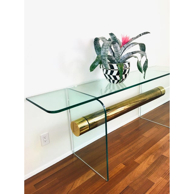 1970s Ultra Modern Glass & Brass Beam Console Sofa Table For Sale In Las Vegas - Image 6 of 11