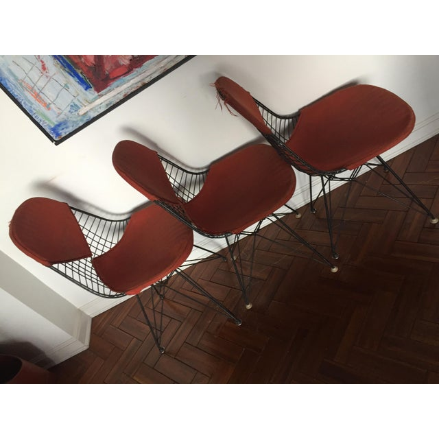 Mid-Century Modern Eames DKR Black Wire Chairs - Set of 3 For Sale - Image 3 of 11