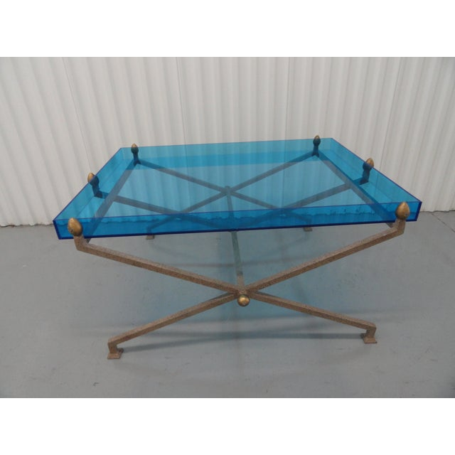 1970s Contemporary Steel and Blue Perspex Coffee Table For Sale - Image 10 of 10