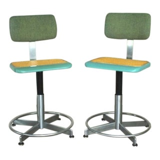 Vintage Western Electric Mid-Century Turquoise Adjustable Task Office Chairs For Sale