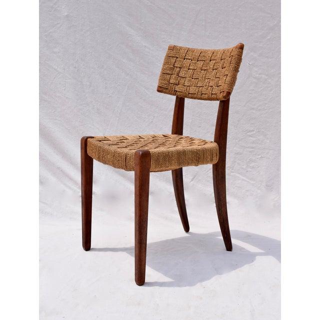 Mid-Century Modern Teak Mid Century Modern Side Desk Rope Chair For Sale - Image 3 of 12