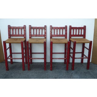 Set of Four Vintage Red Rustic French Country Rush Barstools Preview