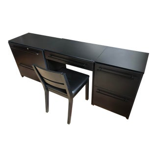 1990s Minimalist Office Modular Filing Cabinet Desk & Chair - 2 Pieces For Sale