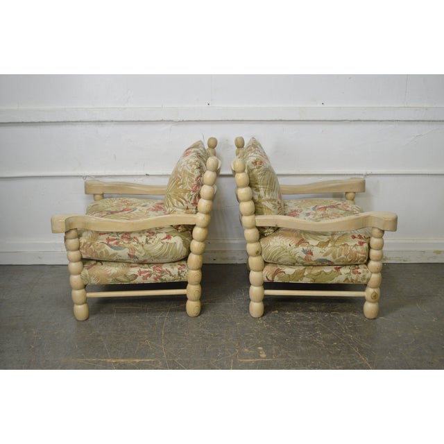 Custom Spool Turned Bobbin Large Lounge Chairs - A Pair For Sale In Philadelphia - Image 6 of 13