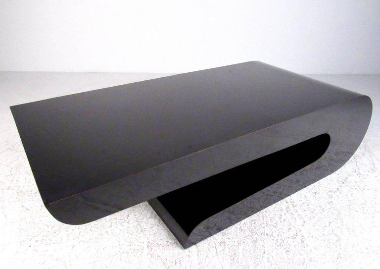 Late 20th Century Sculptural Modern Karl Springer Style Coffee Table For  Sale   Image 5 Of