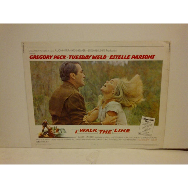 "A Vintage Movie Poster -- ""I Walk The Line"" -- Starring -- Gregory Peck And Tuesday Weld -- 70/253 -- Copyright 1970 --..."