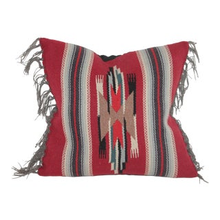 Red Indian Mexican Serape Pillow For Sale