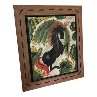 Early 20th Century Antique Ceri Framed Horse Painting For Sale