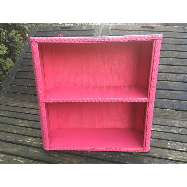 1950s Shabby Chic Hot Pink Wicker Shelf For Sale - Image 4 of 10