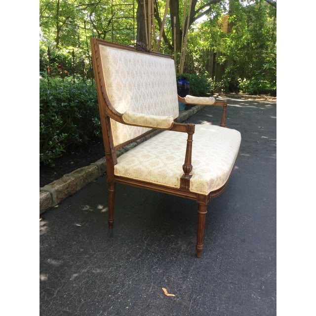 19th C. Louis XVI Style Walnut Settee For Sale In New York - Image 6 of 9