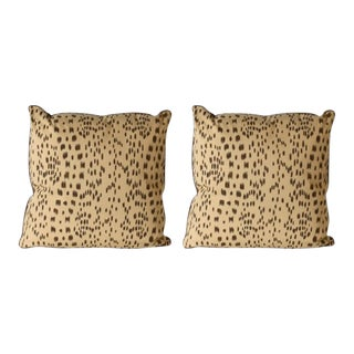 Pair of Les Touches Cotton Print Brown Pillows With Chocolate Silk Back and Micro Welt For Sale