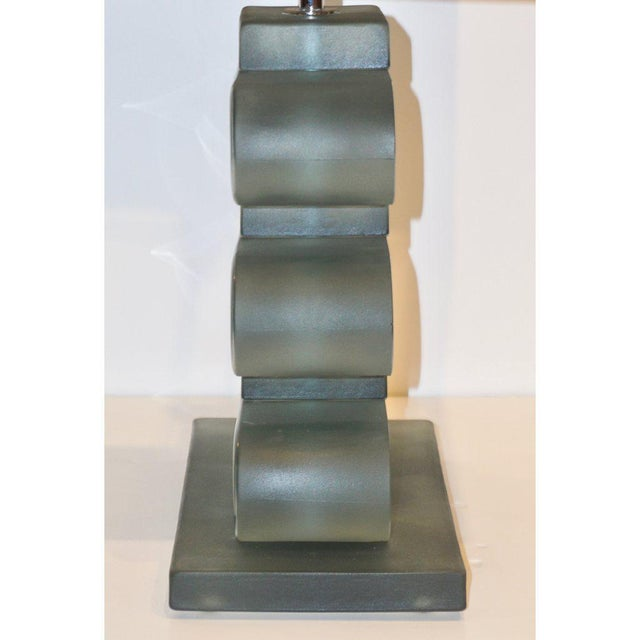 Italian Modern Nickel and Smoked Aqua Murano Glass Architectural Lamps - a Pair For Sale In New York - Image 6 of 10