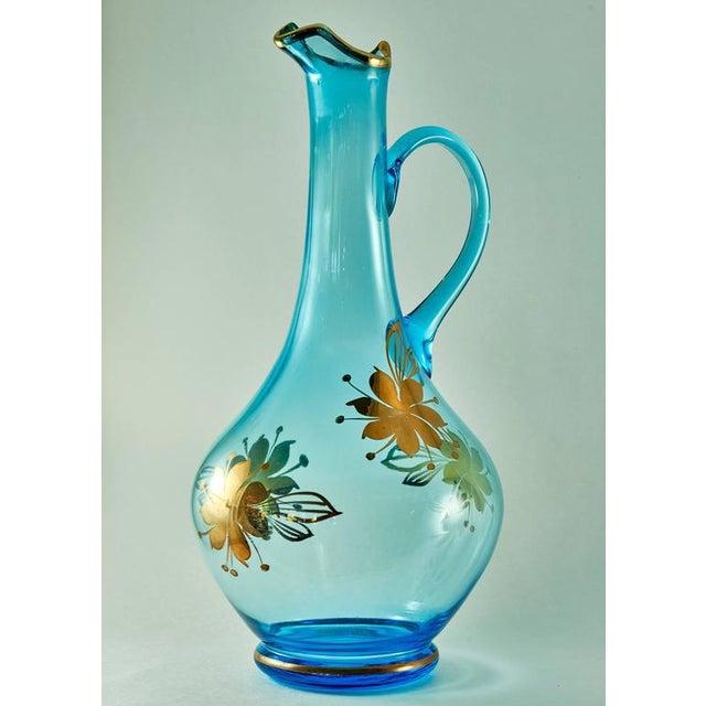 Sea Blue & Gold Leaf Decanter & Glassware Set - Image 10 of 10