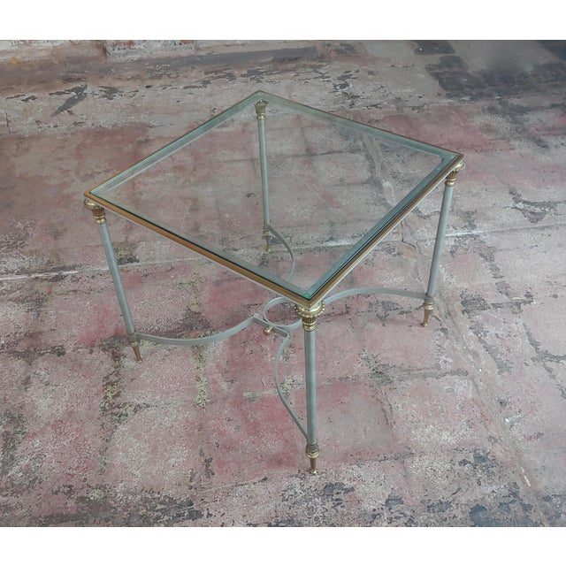 French Vintage Brass French Side Tables W/Square Glass Top- a Pair For Sale - Image 3 of 10
