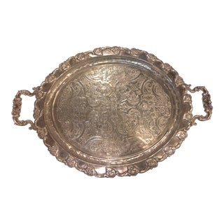 1920s Antique Silver Platted Serving Platter / Tray For Sale