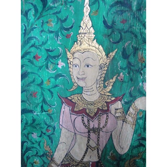 Vintage Thai Buddha Painting on Hand Carved Base - Image 3 of 3