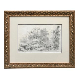 Antique Original 19th Century Drawing Figure on Horseback in Landscape With English Mannor For Sale
