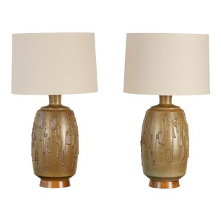 Pair of David Cressey Stoneware Lamps For Sale