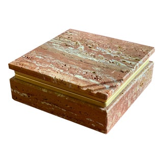 Mid Century Red Travertine Marble and Brass Hinged Box by Fratelli Mannelli For Sale