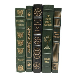 Vintage Easton Press Black and Green Leatherbound Classic Books - Set of 5 For Sale