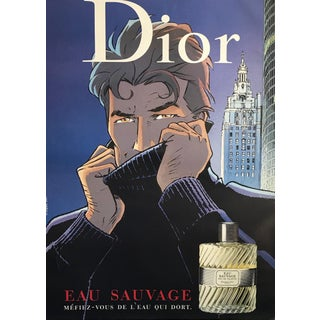 2001 Original Christian Dior Perfume Advertisement, Eau Sauvage (Man in a Turtleneck Sweater) For Sale