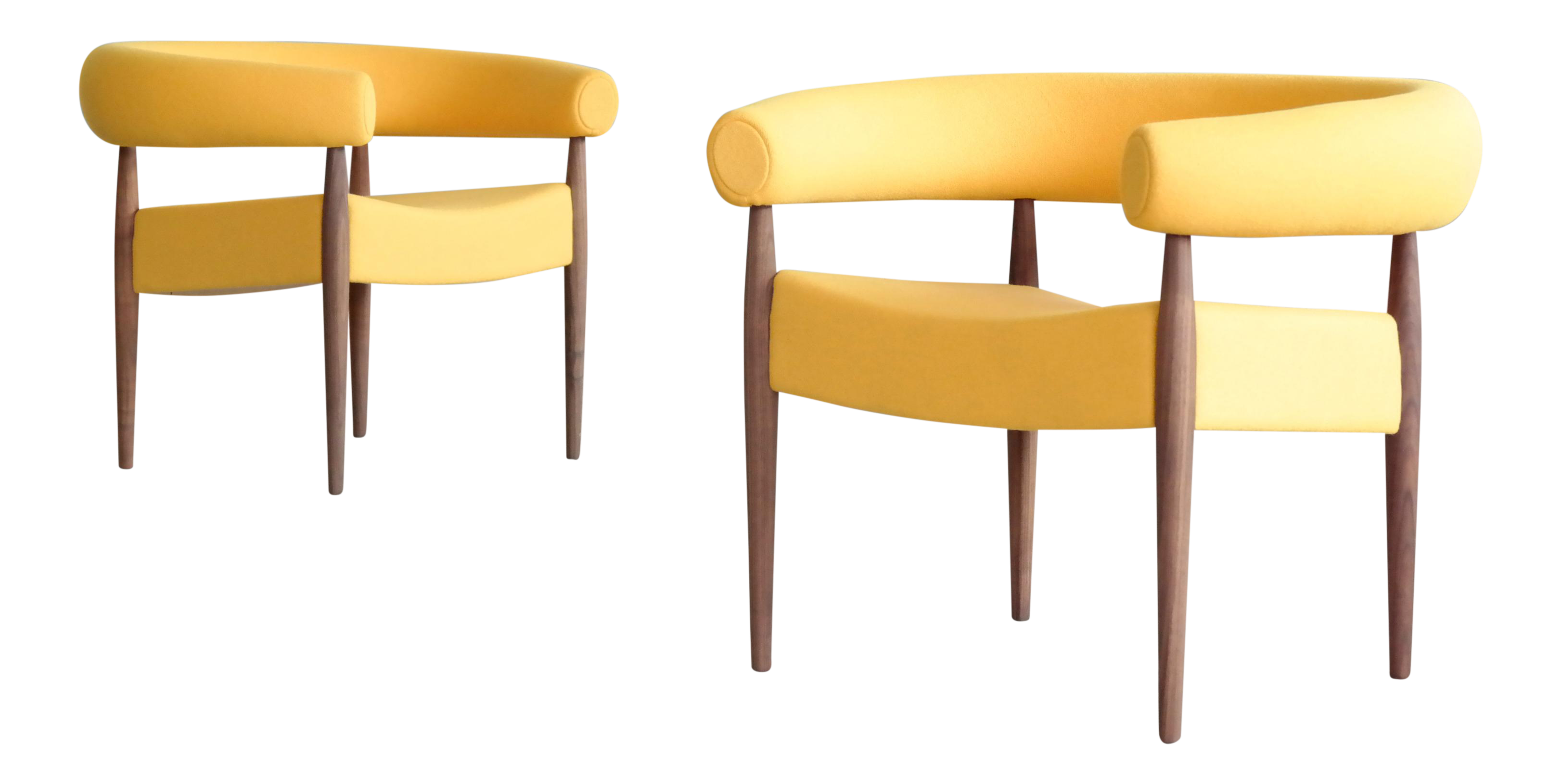 Nanna Ditzel For GETAMA Ring Chairs In Walnut And Wool   A Pair For Sale