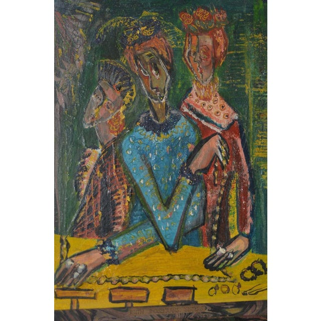 """Abstract Expressionism Ruth Rosekrans (1926-2007) """"Sisters"""" Original Oil Painting C.1950s For Sale - Image 3 of 10"""