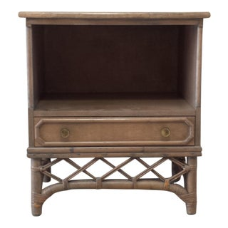Ficks Reed Rattan Bamboo Nightstand For Sale